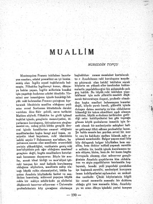Nurettin Topçu'dan Muallim
